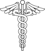 Physicians symbol of two snakes wrapped around a winged staff
